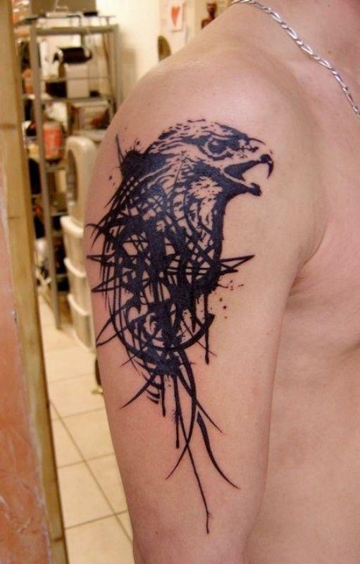 Screaming Tribal Eagle Tattoo