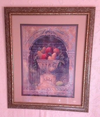 Large HomcoHome Interiors Framed Beautiful Floral Scenic Felder
