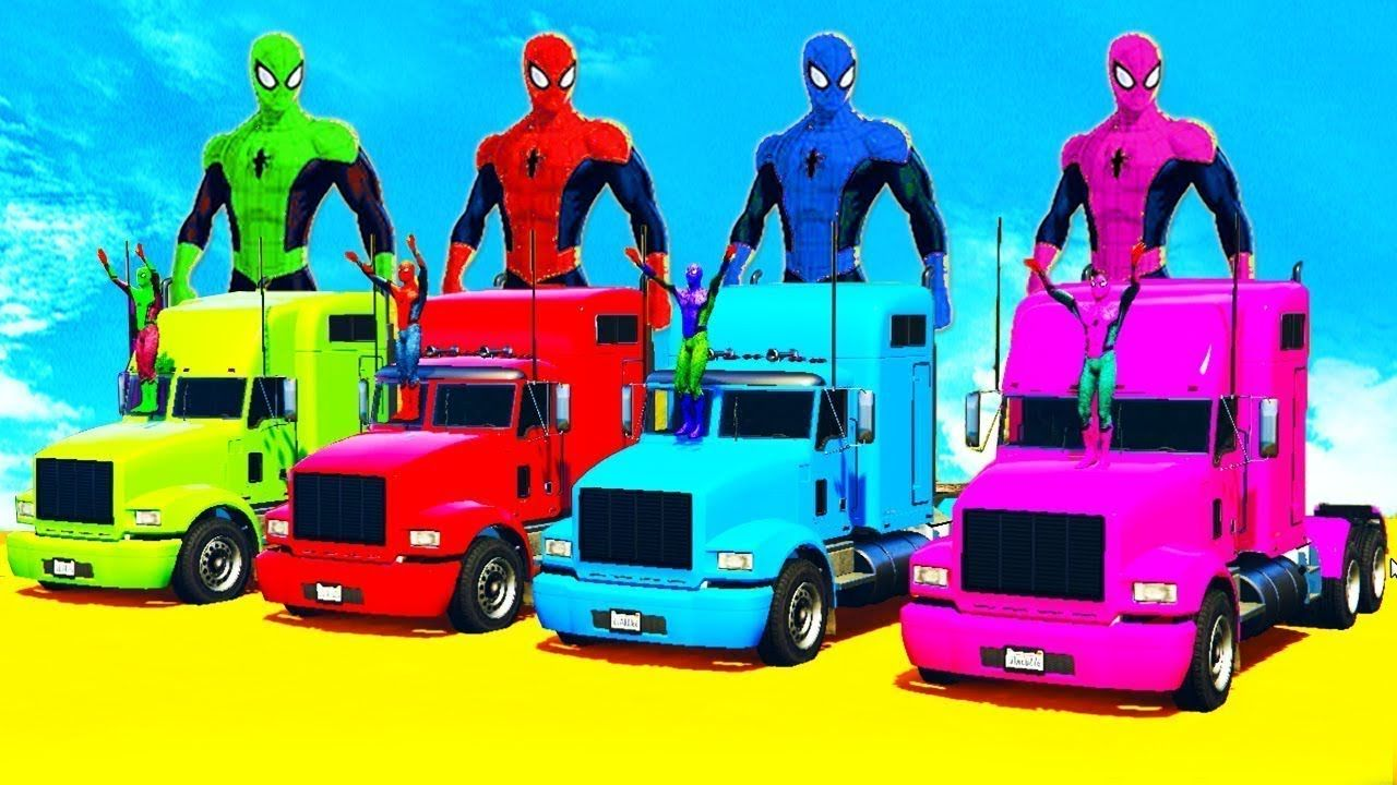 Learn Color Color Trucks For Kids With Spiderman Cartoon Nursery Rhymes And Children Songs Kids Songs Spiderman Cartoon Nursery Rhymes Songs