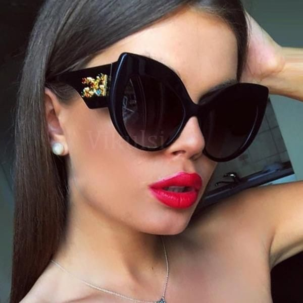 cb308bd5af92  Fashion  BestPrice Women 2019 Sunglasses New High Quality Metal Crystal Cat  Eye Big Frame D857  Discounts  BestPrice