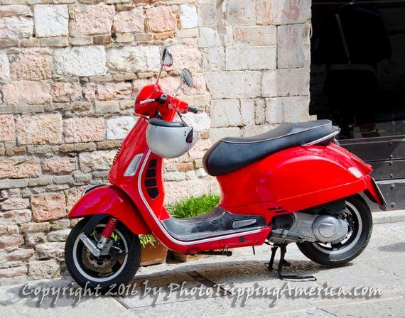 Italian Red Vespa, Tuscany Transportation, Vespa, Red Vespa