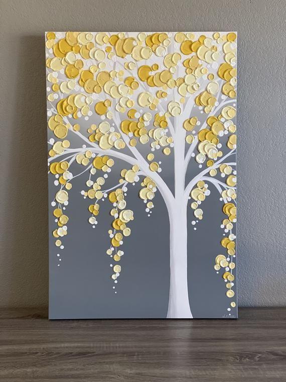 Yellow and Gray Textured Tree, Original Acrylic Pa