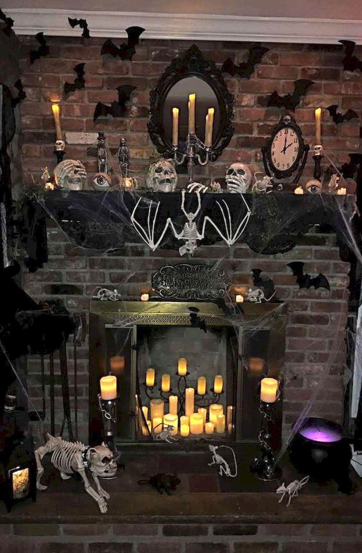 50 Stunning Halloween Decoration Indoor Ideas Halloween Decorating Ideas Halloween Fireplace Halloween Mantel Spooky Halloween Decorations