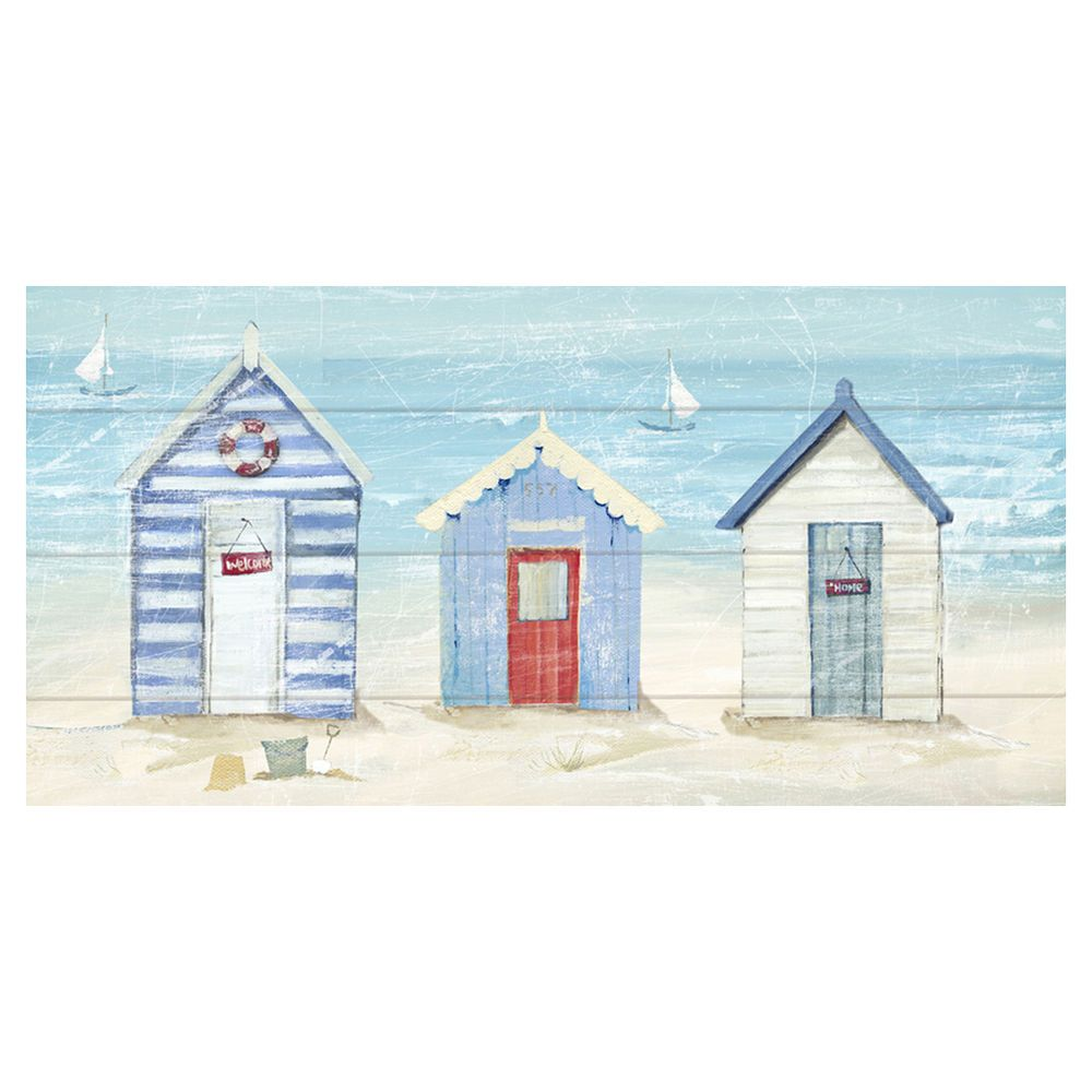 arthouse urban beach huts canvas print 30x60cm - masters home