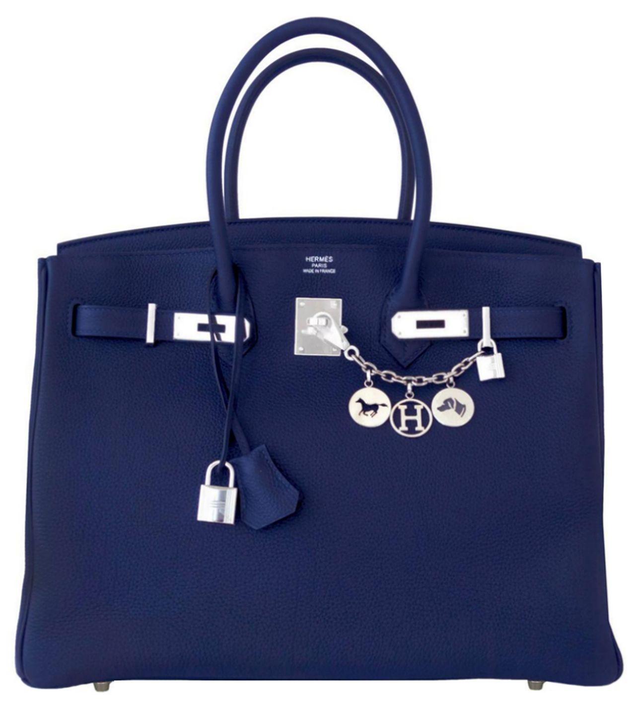 fd37345879a9 Hermes Birkin  Bag Navy Blue Nuit Togo Palladium Hardware