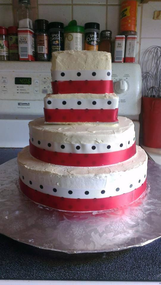 Wedding cake- white cake with strawberry filling, with ribbon, fresh ...