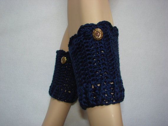 Navy Crochet Boot Cuffs with gloden button boot by OtiliaBoutique, $25.00