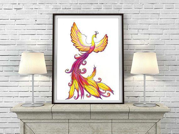 Gift Framed Poster Art Print Phoenix Rising Fantasy Painting Wall Decor