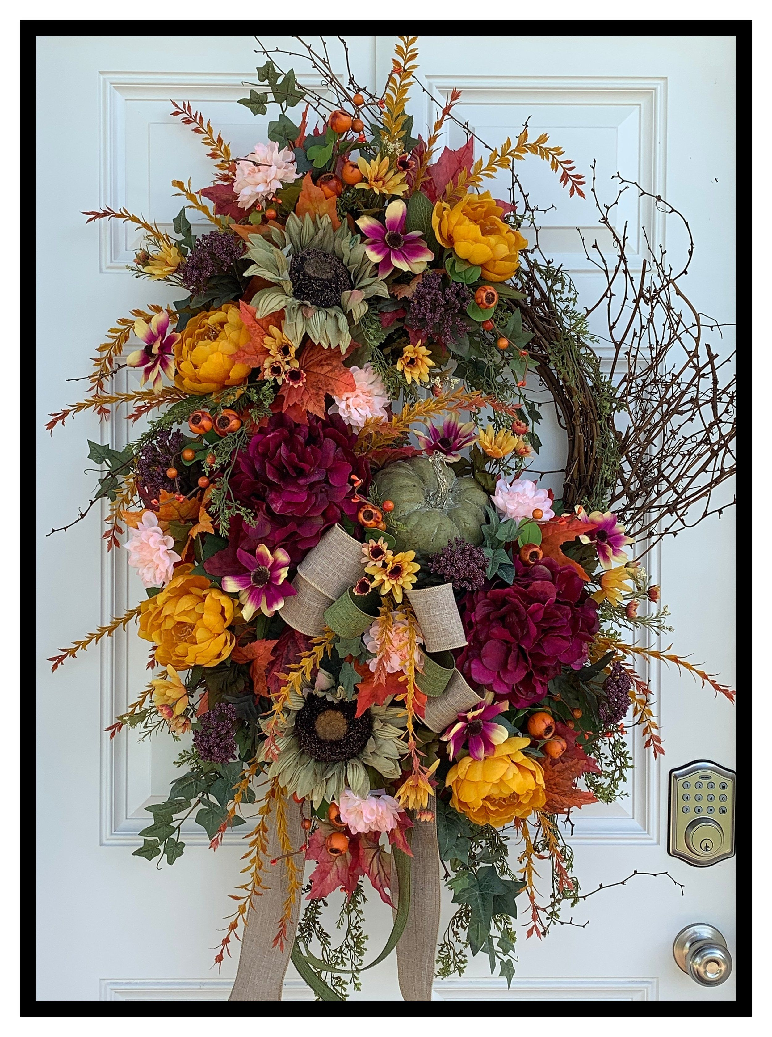 Extra Large Unique Autumn Wreath For Front Door Autumn Wreaths For Front Door Floral Door Wreaths Door Wreaths Fall