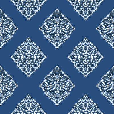 "York Wallcoverings Cobalt Blues 33' x 20.5"" Ikat Roll Wallpaper"