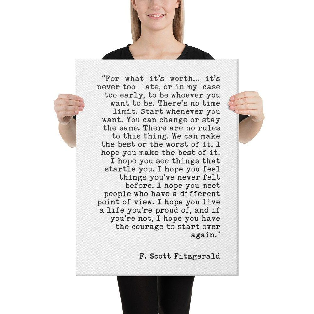 F. Scott Fitzgerald For What It's Worth Quote Canvas Typography Art Print // Inspirational | Home Wall Decor | Minimalist Decor