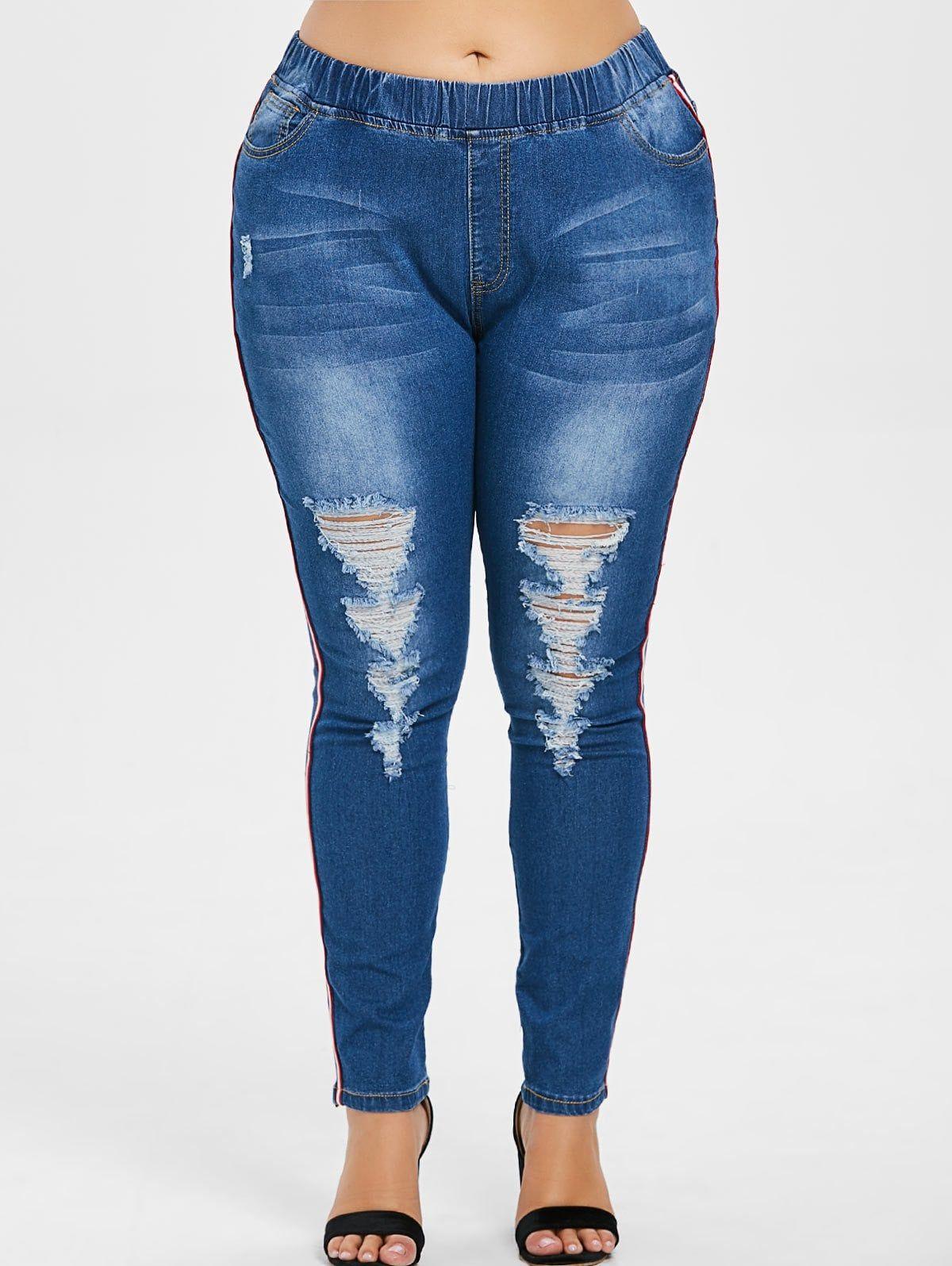 Elastic waist plus size distressed jeans plus size