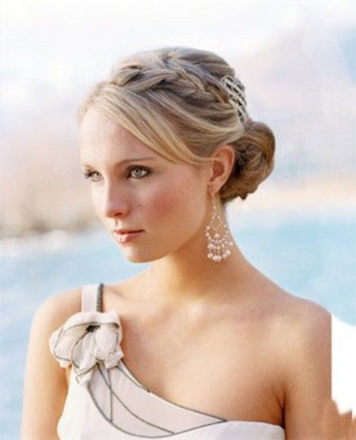 Side Braid Hairstyles For Weddings: Braided Updo With Side Bangs