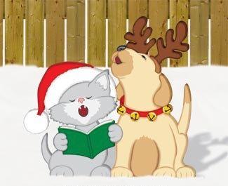 Christmas Caroling Kiten & Puppy Outdoor Wood Yard by chardoman