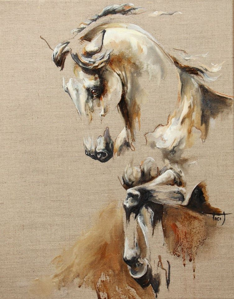 oil on canvas Copyright L. PLINGUET | Equine Art ...