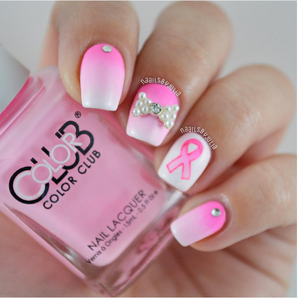 33 Cute Pink Nail Designs You Must See | Breast cancer ...