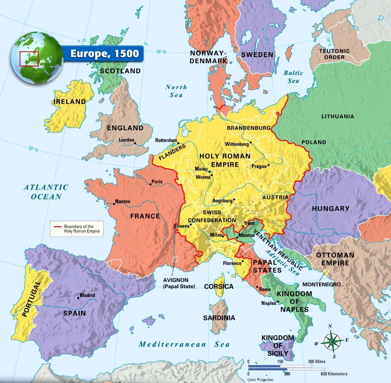 Europe The Oxymoron Holy Roman Empire REICH I - Europe religion map