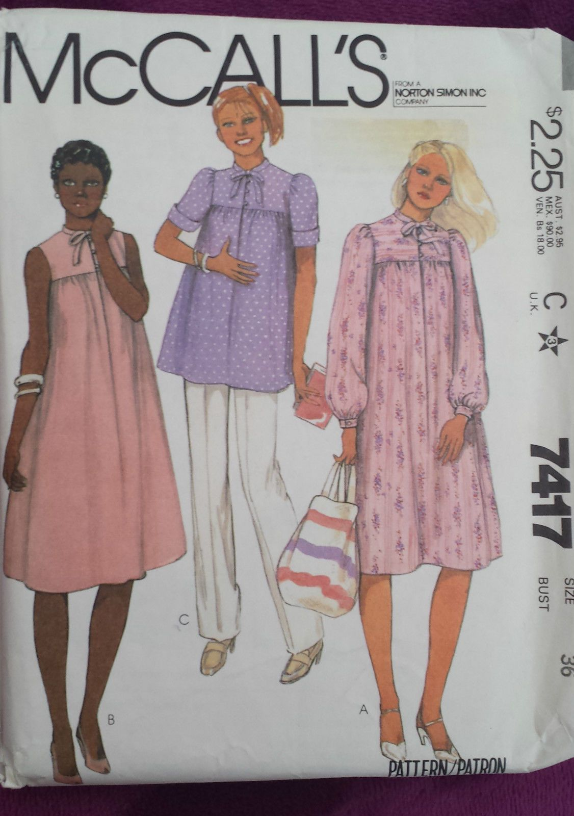 a16463f899dd0 Vintage 1980s Sewing Pattern McCall's 7417 Maternity Dress, Pants Complete B  36
