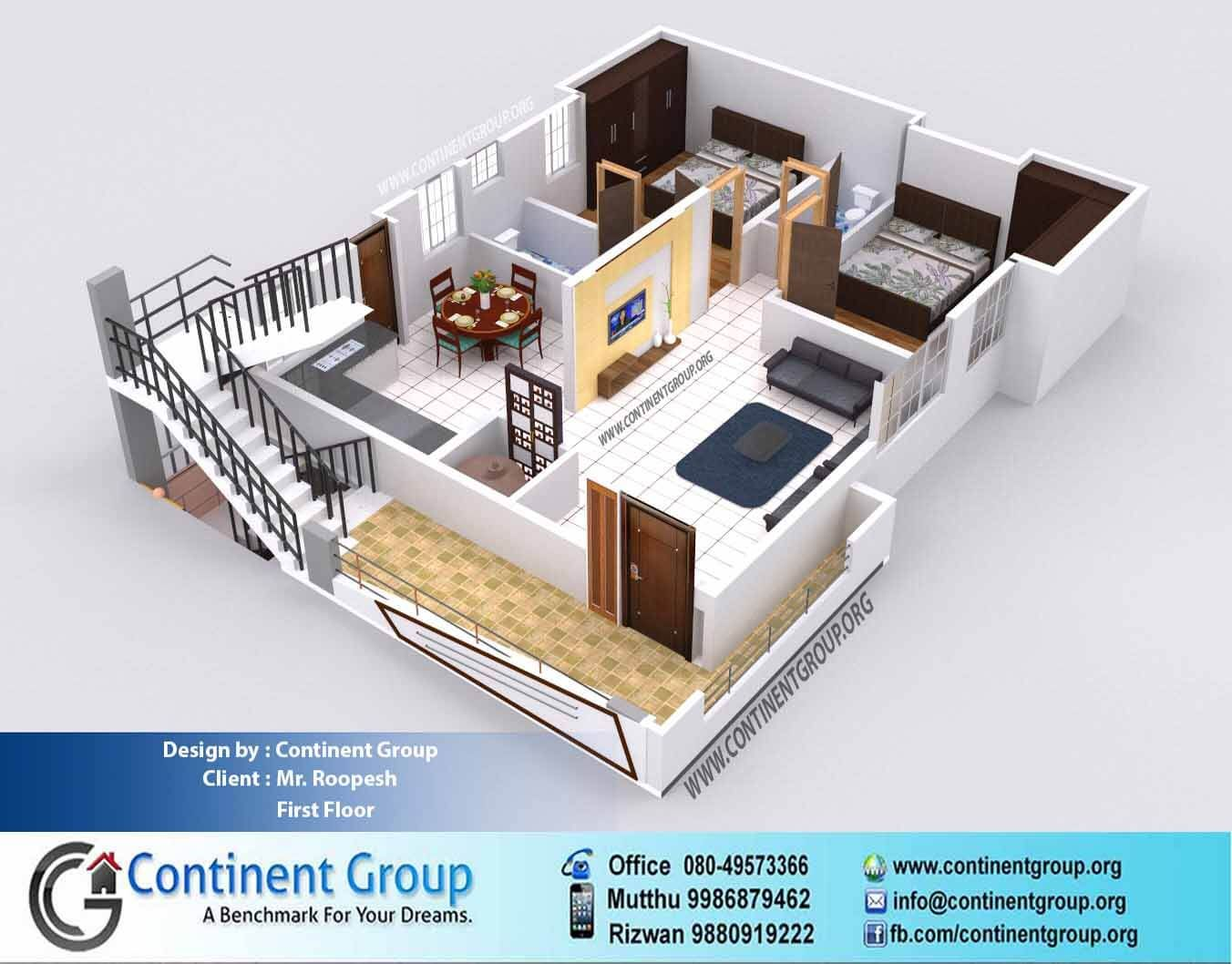 3d Floor Plan Service 3d Floor Plan2 Bedroom 2bhk In 2020 2 Bedroom House Design House Design Home Design Floor Plans