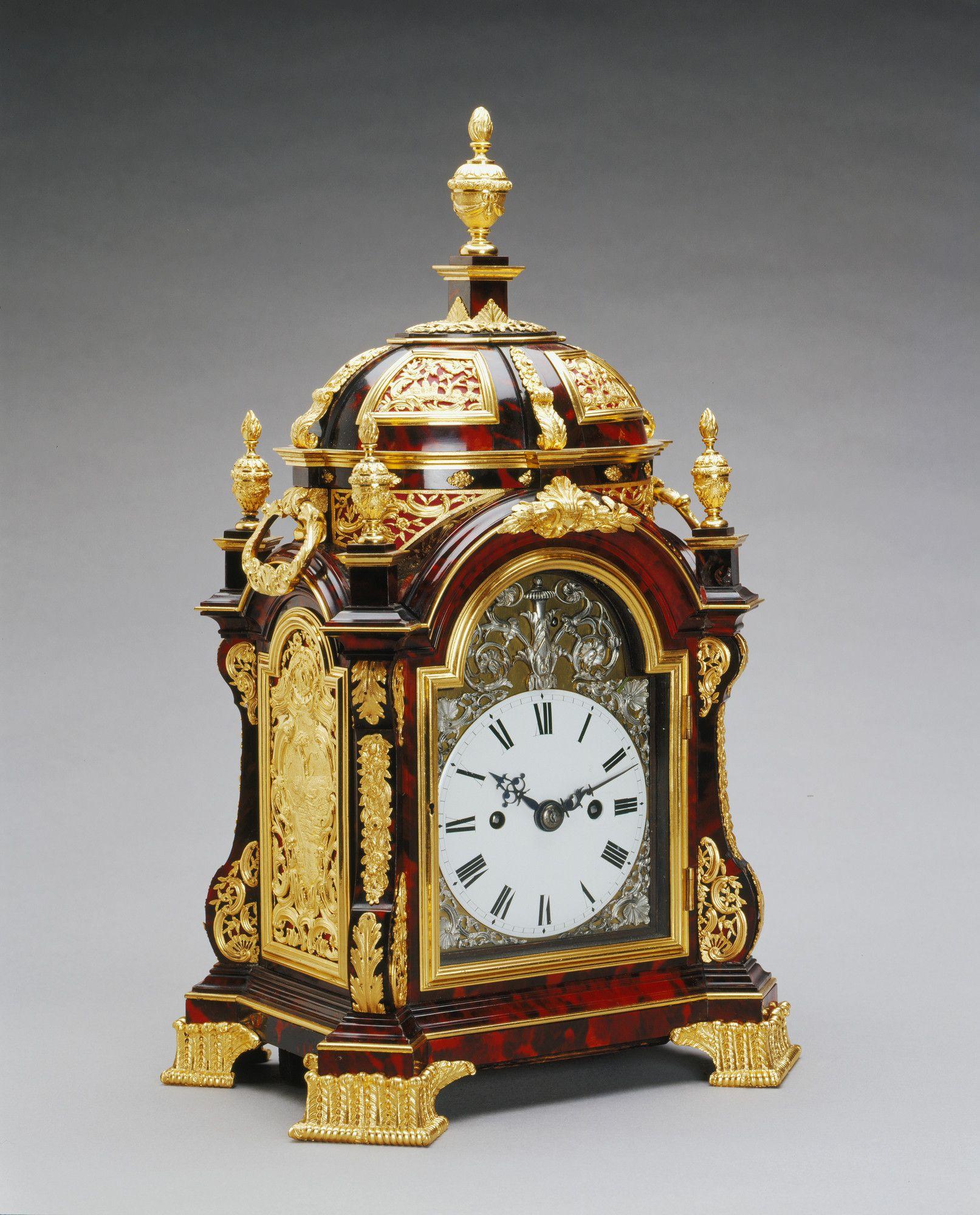 This elaborately mounted tortoiseshellveneered clock is comparable