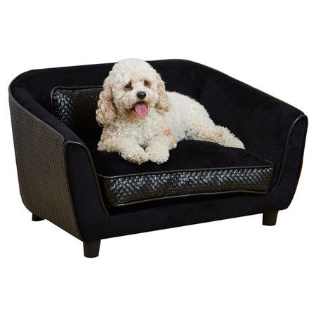Offer your four-legged friend a stylish retreat with this sofa-inspired pet bed in basketweave black.  Product: Pet bed...