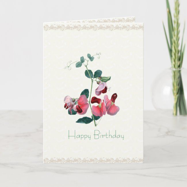 Custom Occasion Pink Sweet Pea Card #sweetpeas #tissue #custom #occcasion #personalize#botanical #gifts #gardenstyle #flowers #vintage #floral