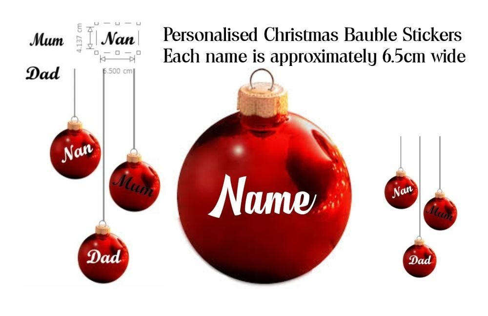 Vinyl sticker christmas bauble personalise name or motif personalised baubles
