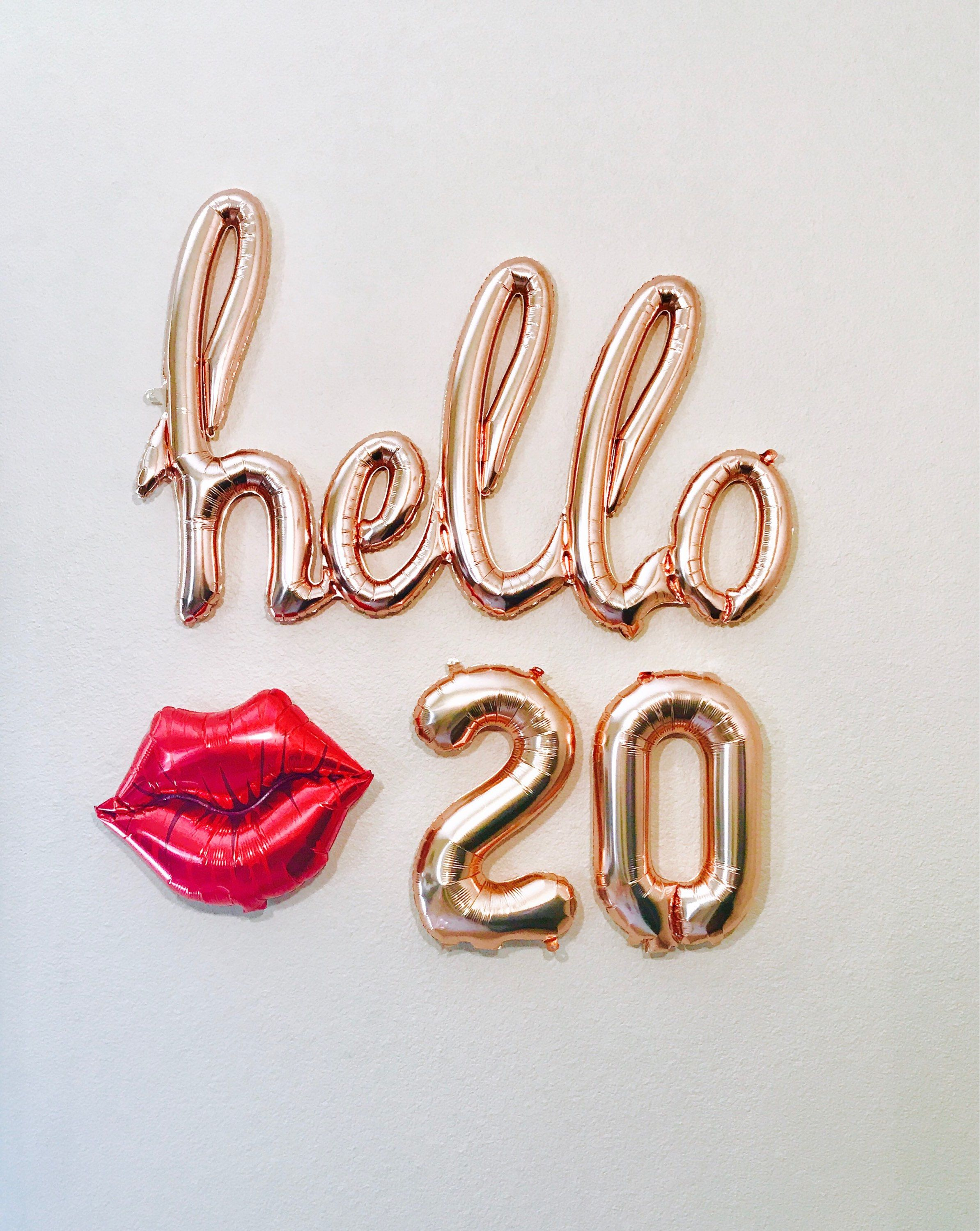 Rose Gold Hello 20 20th Birthday Years