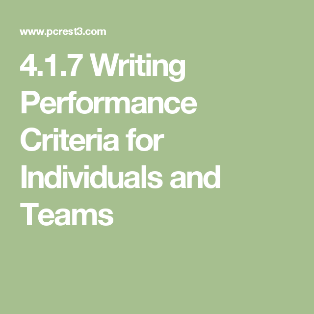 4.1.7 Writing Performance Criteria for Individuals and Teams