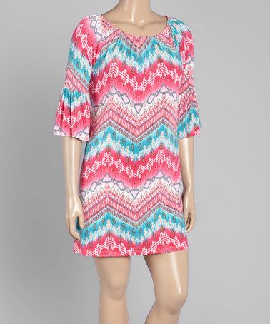 This Magenta & Blue Geo-Zigzag Bell-Sleeve Shift Dress - Plus is perfect! #zulilyfinds
