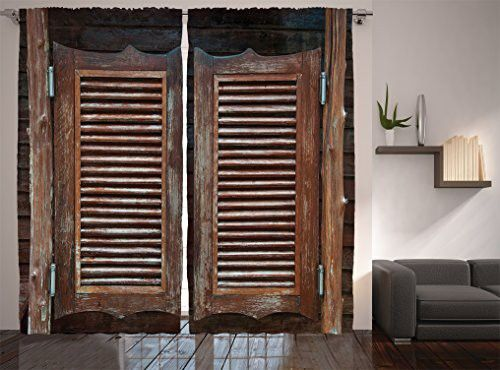 Ambesonne Western Decor Collection Rustic Wild West Swinging Wooden Cowboy Bar Saloon Door Image Window Treatments Cowboys Bar Western Curtains Western Decor