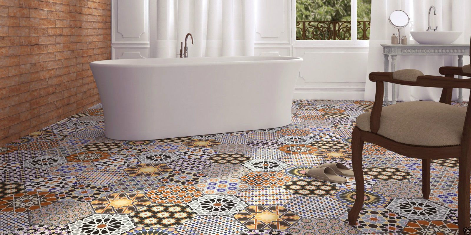 Istanbul hexagon multi colour patchwork victorian porcelain wall istanbul hexagon multi colour patchwork victorian porcelain wall floor tiles dailygadgetfo Gallery