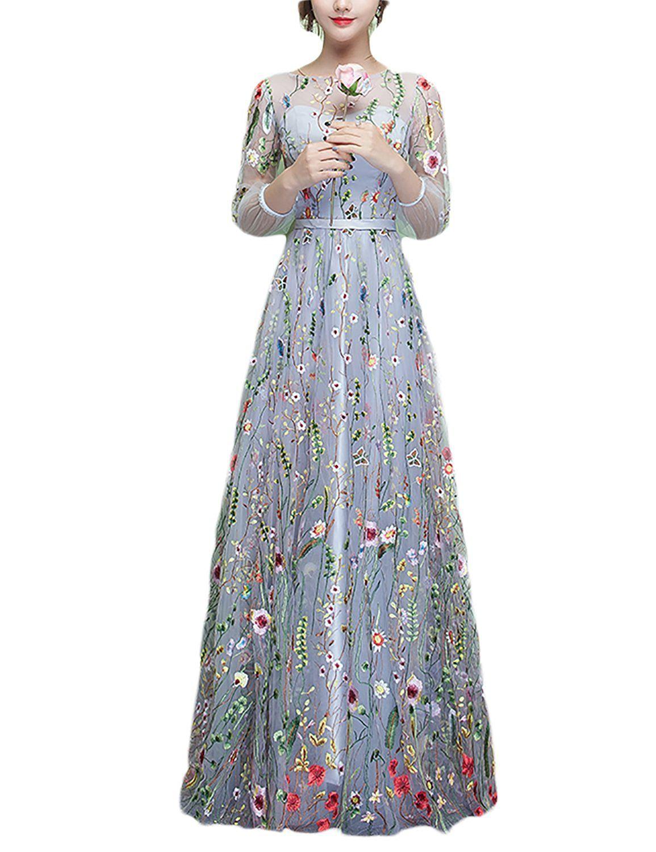 Jojobridal womenus floral long prom evening dresses formal sleeves