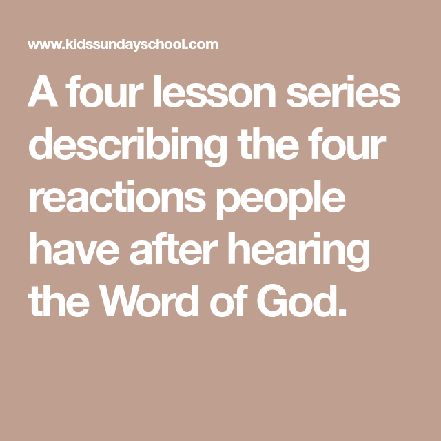 A four lesson series describing the four reactions people have after