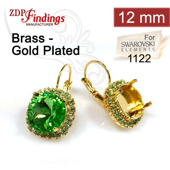 60664211a2e05d 2pcs x Round 12mm Bezel Earrings For Setting Gold Plated w Peridot  Rhinestones. Fit Swarovski Rivoli 1122 (LBRD12PERGP)
