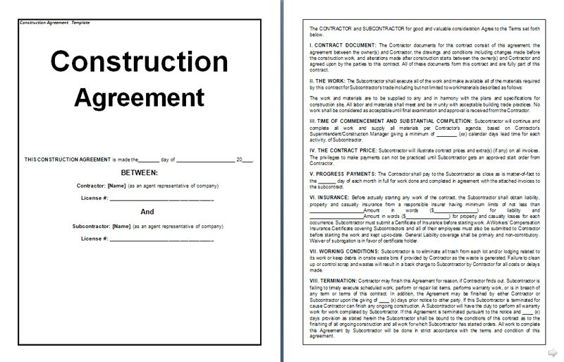 Construction Agreement Form  Agreement Form Template  Ms Word