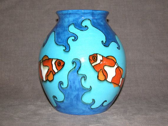 Hand painted with 4 clown fish Australian ware by HarcourtPottery, $425.00