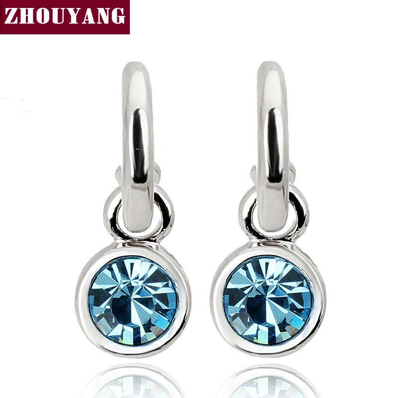 Estilo Simple Azul CZ Cystal Oro de Calidad Superior Plateado Platino Color Plata Pendientes de Boda Para Las Mujeres Al Por Mayor ZYE206
