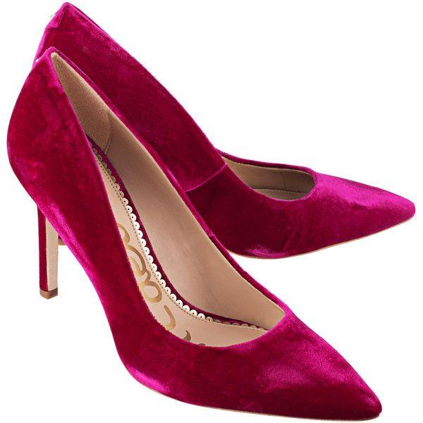 44f9f6722 SAM EDELMAN Hazel Pink Velvet    Velvet pumps ( 175) ❤ liked on Polyvore  featuring shoes