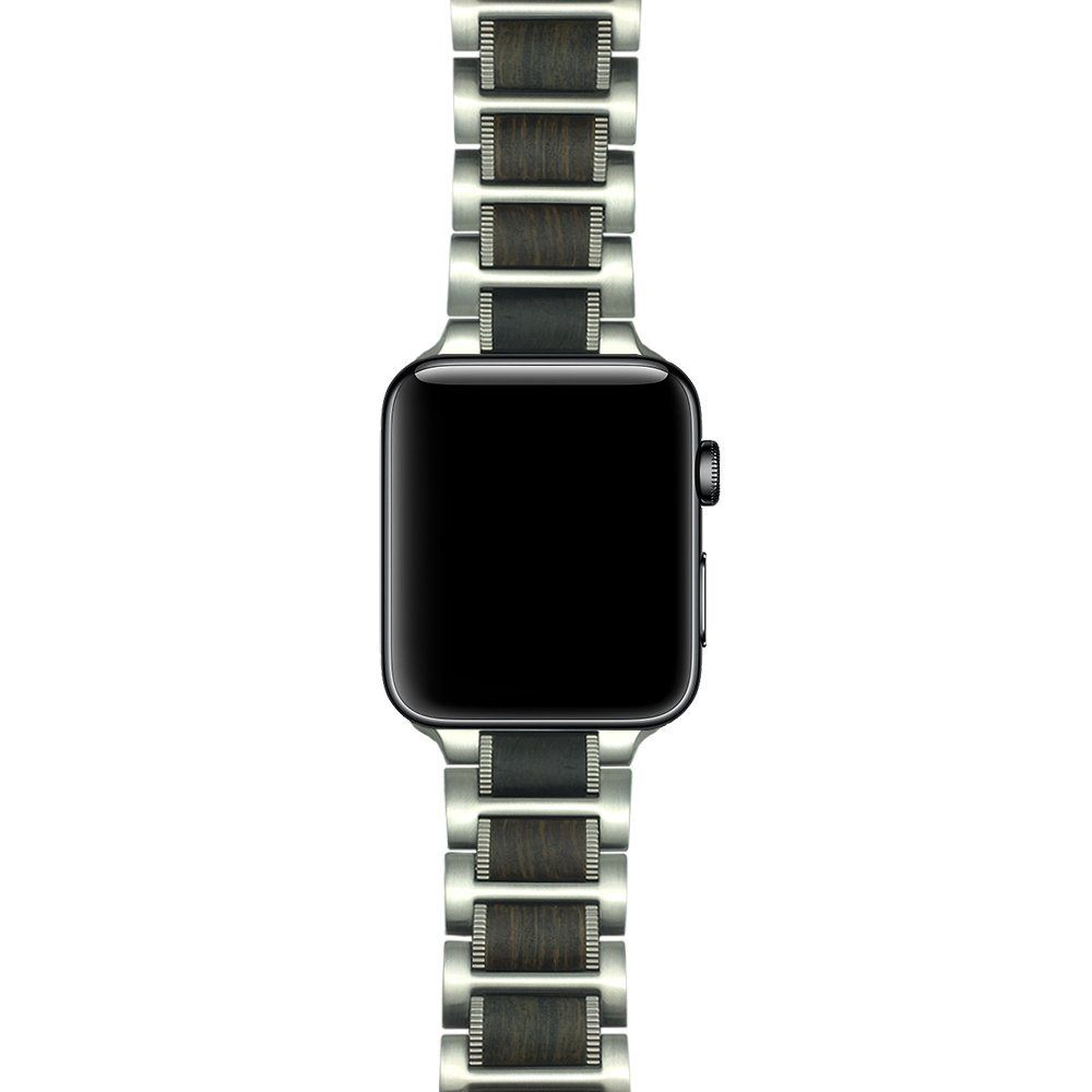Amazon Com Ldfas Apple Watch Band 42mm Natural Wood Black Sandalwood Stainless Steel Link Bracele Apple Watch Bands 42mm Apple Watch Apple Watch Bands Leather