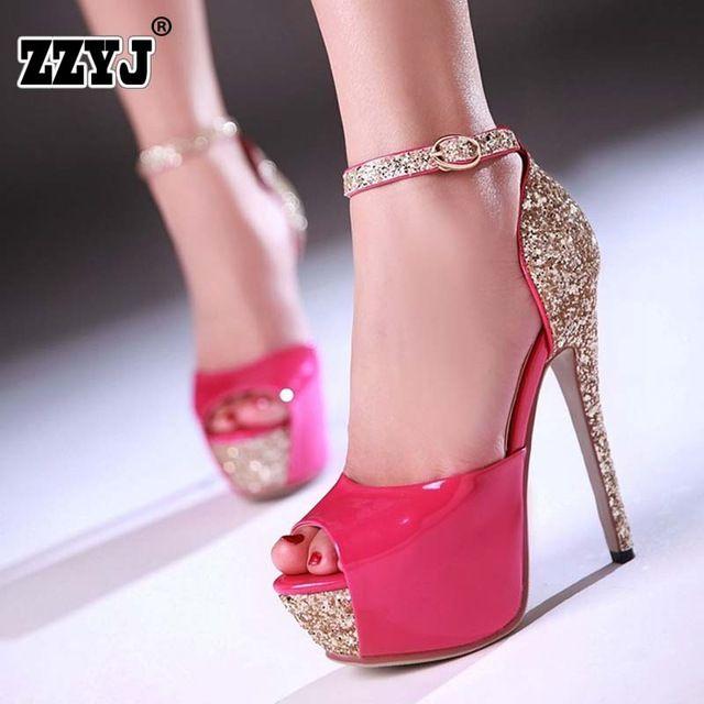3102a2b569 ZZYJ Tamanho Grande 32-43 Sexy de Salto Alto Sapatos de Plataforma Bombas  Vestido das mulheres sapatos de Casamento Da Forma da senhora Preto Branco  Ouro ...
