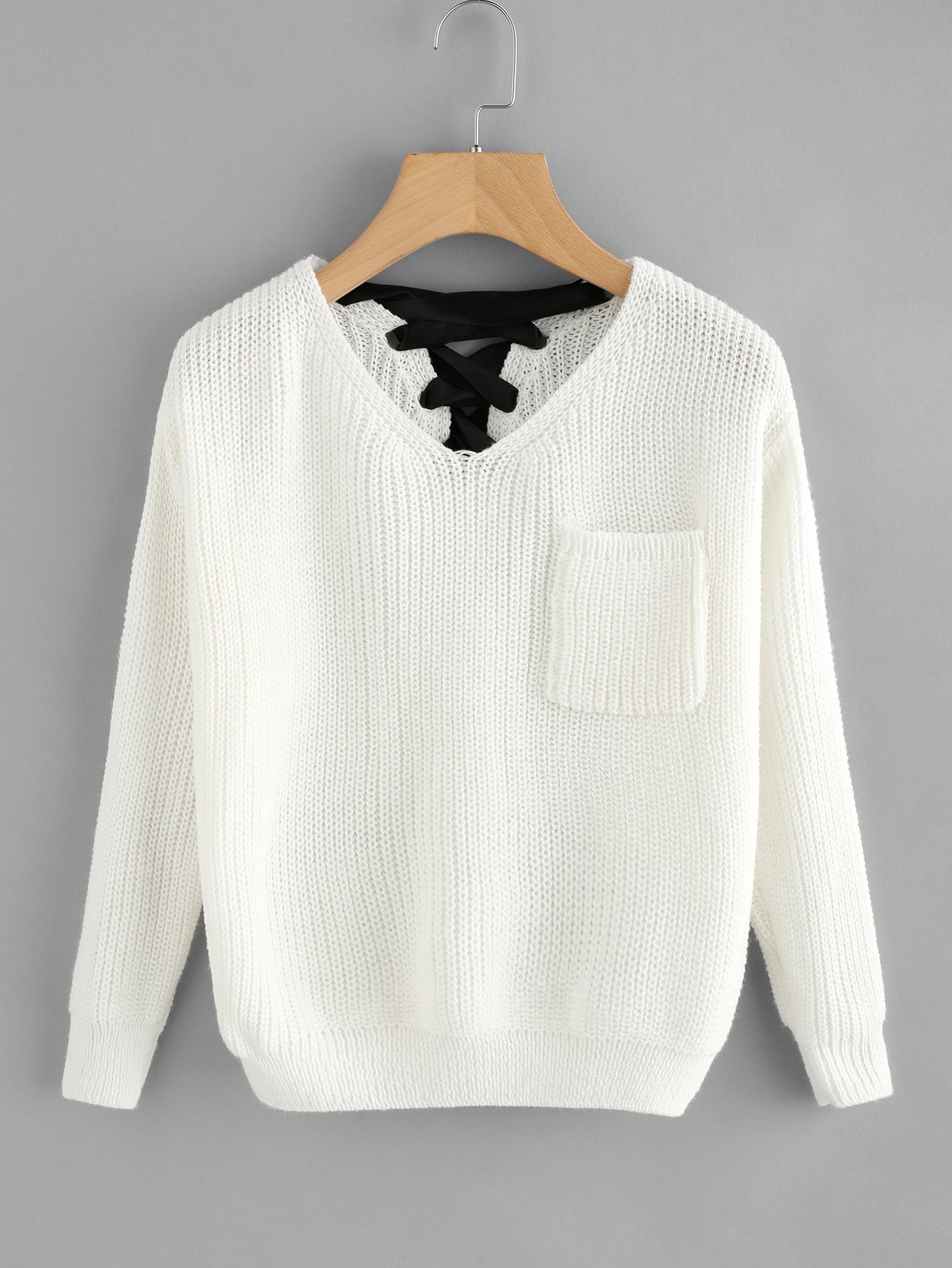 3d36b0c098 Shop V Neckline Lace Up Back Texture Knit Sweater online. SheIn offers V  Neckline Lace Up Back Texture Knit Sweater   more to fit your fashionable  needs.