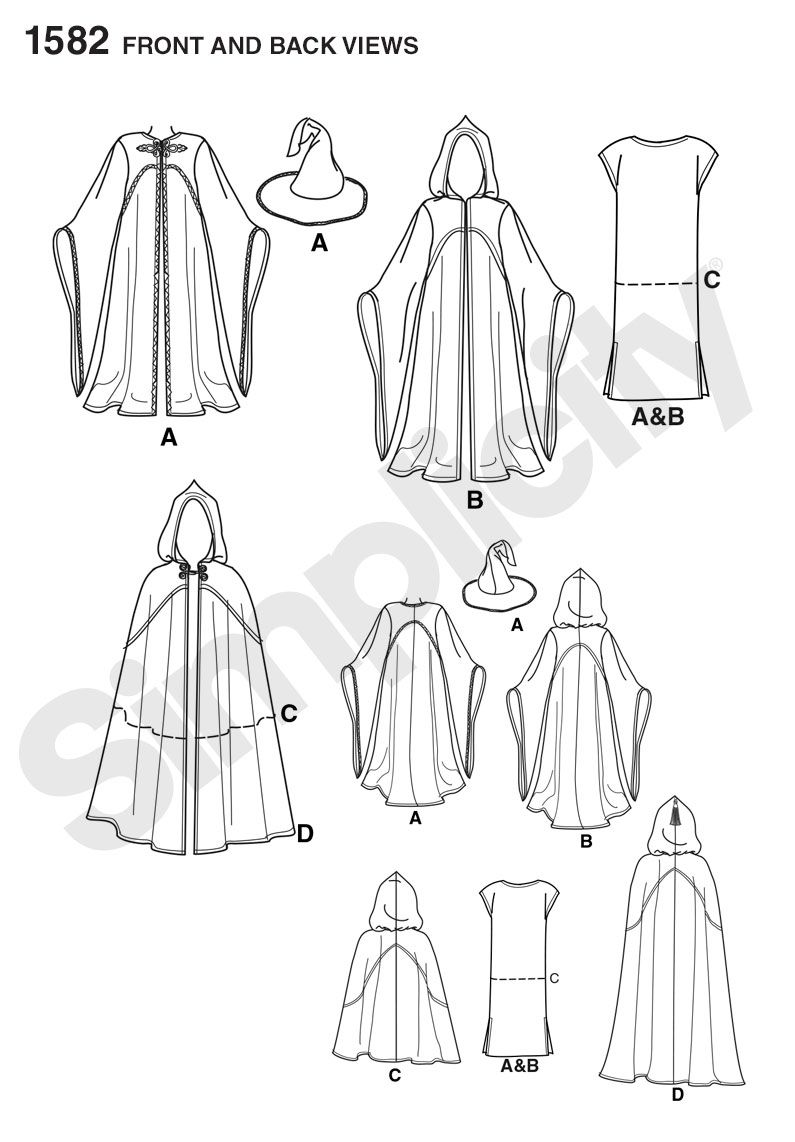 Simplicity 1582 Misses, Men and Teen Costumes | Hoods, Costumes ...