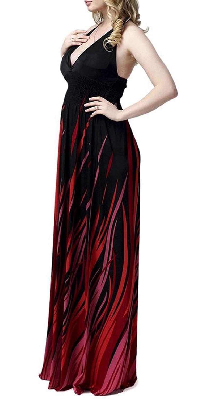 Jusfitsu womenus deap vneck strappy sexy maxi dress evening gown