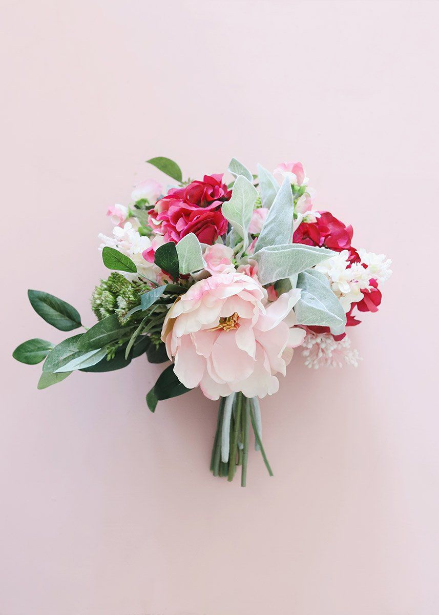 Silk Hydrangea And Peony Bouquet In Pink Artificial Wedding