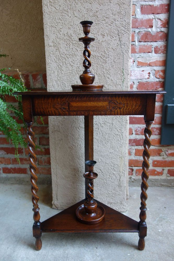 Antique English Tiger Oak Barley Twist Corner Table Tier Side