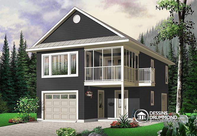 W2933 - Garage avec apparement, 2 chambres, plancher ouvert, abri - plan maison avec appartement