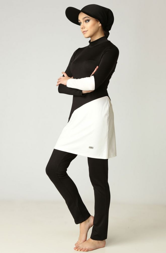 1eb3bd5d27f Black & White Muslim Swimwear | Modest Fashion | Modest swimsuits ...