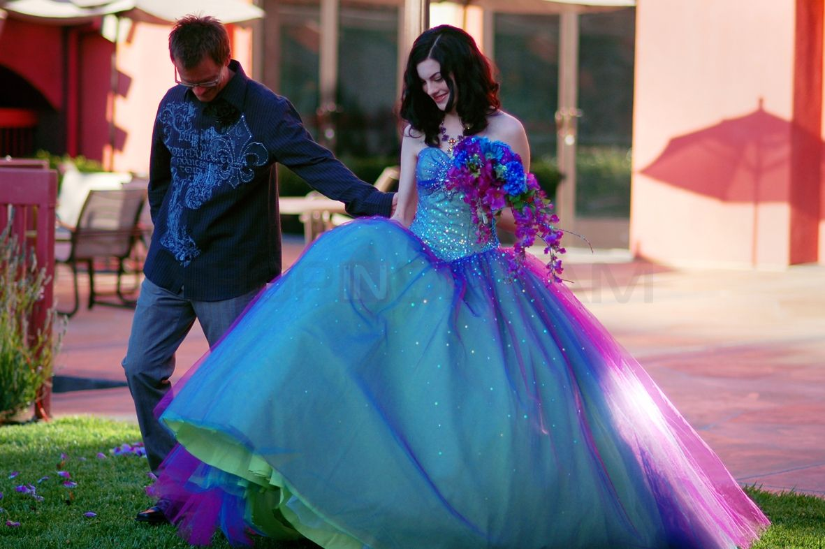 Multi Colored Wedding Dresses | ... Gown Strapless Rhinestones Sequins Multi  Colored Tulle