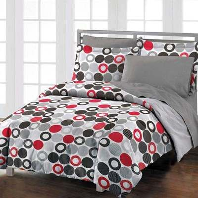 modern chic red grey black twin comforter set girls boys teen new bedding comforters. Black Bedroom Furniture Sets. Home Design Ideas